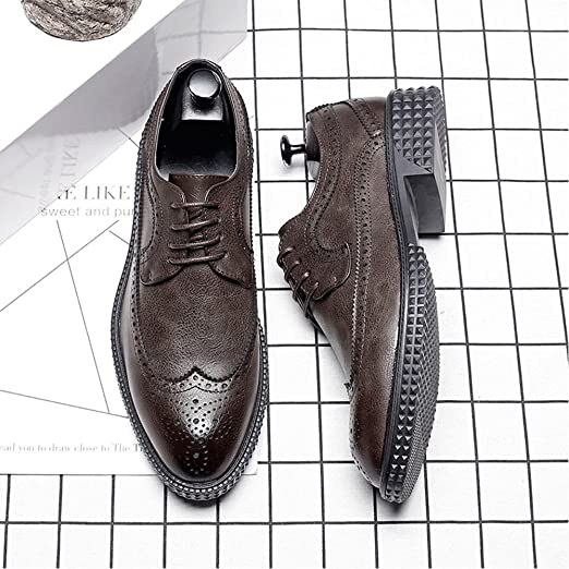 Sunny&Baby Männer Business Brogue Schuhe PU-Leder oberen Lace Up Wingtip Dekoration atmungsaktiv starke Sohle Oxfords Abriebfeste (Color : Schwarz, Größe : 38 EU)