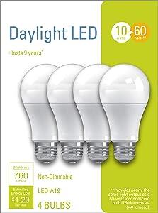 GE Lighting 32589 LED A19 General Purpose 10 (60-Watt-Replacement), 760-Lumen, Medium Base Light Bulb, 4-Pack, Daylight, 4 Piece