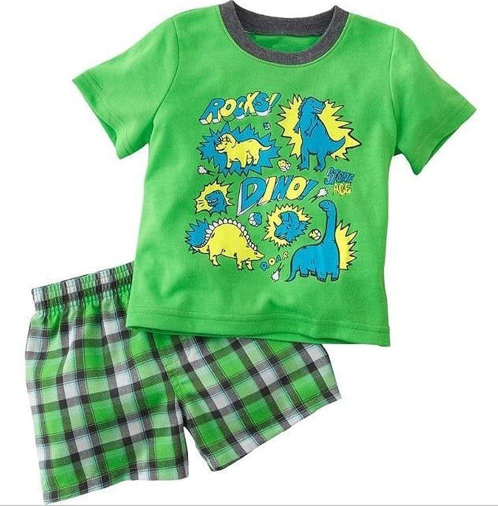 Dinosaur Race Car Pattern Crew Short Sleeve Kids Pajama Sets Boys Girls Cotton Pajamas Sleepwear