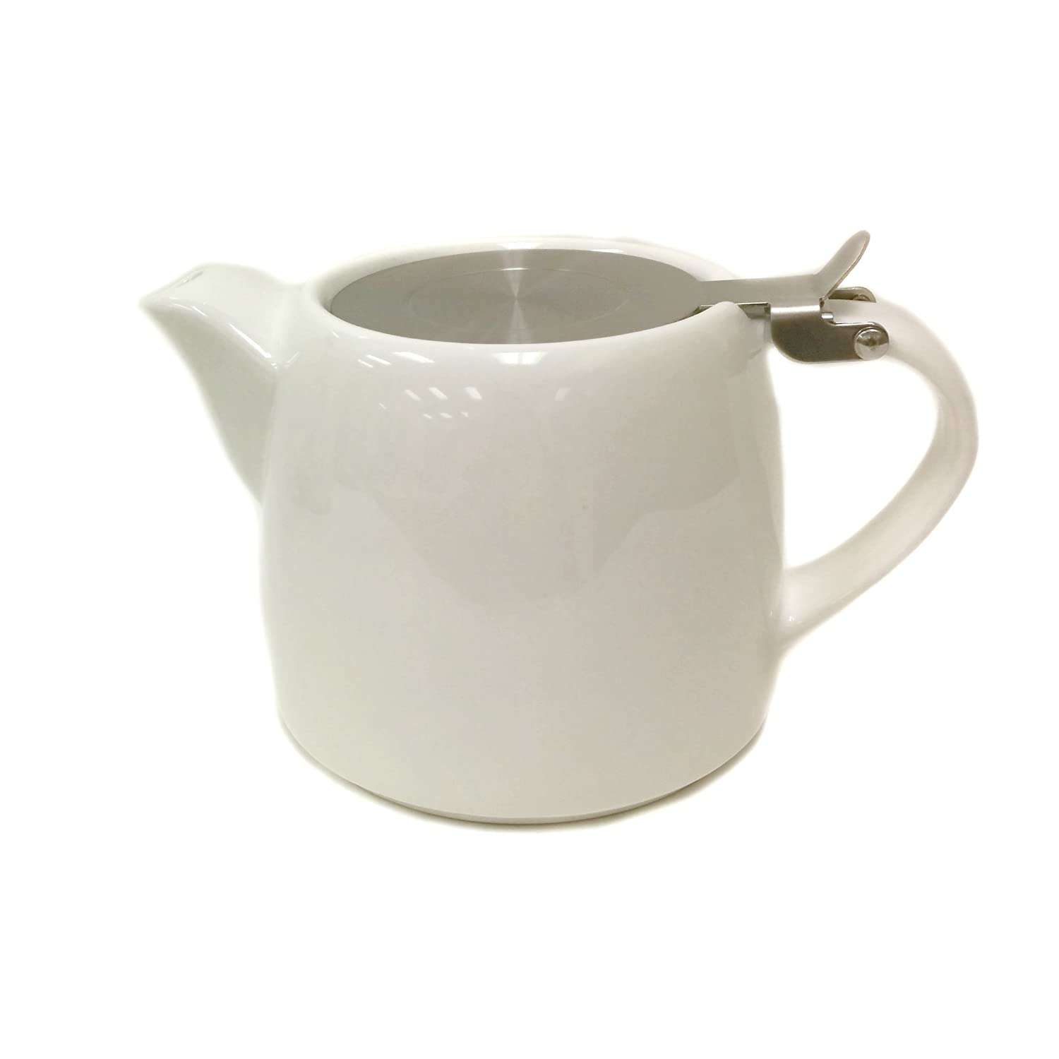 Tea Master Beam Solid Color Teapot w/ Stainless Steel Infuser and Lid (30-Ounce, Glossy White)
