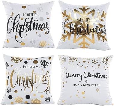 Gspirit 4 Pack Navidad Copo de Nieve Algodón Lino Throw Pillow ...