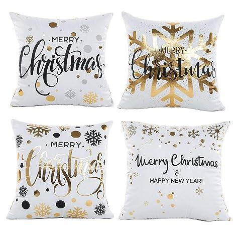 Gspirit 4 Pack Navidad Copo de Nieve Algodón Lino Throw Pillow Case Funda de Almohada para Cojín 45x45 cm