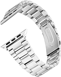 V-MORO Metal Strap Compatible with 40mm Apple Watch Bands 38mm Slim Solid Stainless Steel Business Strap Replacement for iWatch Series 5 4 3 2 1 38mm/40mm Men Women Silver