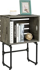 MyGift Vintage Gray Wood Crate Design and Industrial Metal Pipe Living Room Side End Table with Storage Shelf