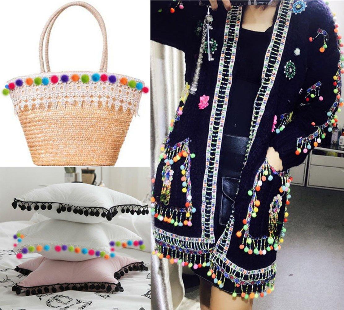SUNSWEI 5 Yards Rainbow Pom Pom Ball Fringe Trim Ribbon Sewing Fabric DIY Craft