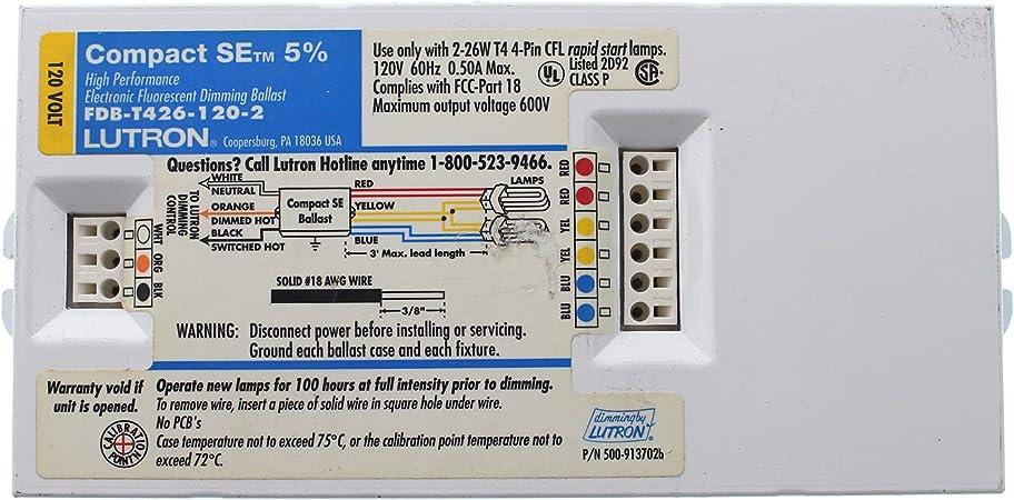2-Lamp Lutron FDB-T426-120-2 Fluorescent Dimming Ballast CFL 4-Pin T4 26W 120V