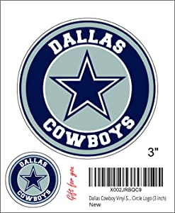 Dallas Cowboy Vinyl Stickers Team Colors (Any Size) Dallas Star Stickers Decal Vinyl for car bamper, hemlet, Laptop, tumblers Circle Logo (3 inch)