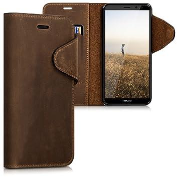 kalibri Funda para Huawei Mate 10 Lite - Carcasa con [Tapa magnética] de [Cuero] - Case de Piel Real en [marrón]