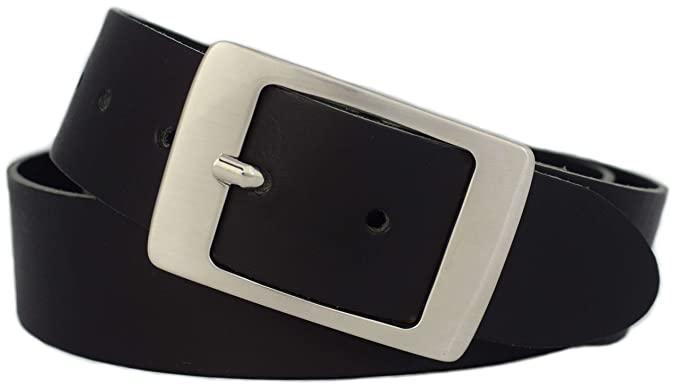 babf62a85123f2 Damengürtel schwarz 4 cm breit - PREMIUM Gürtelschnalle - Ledergürtel Damen  schwarz - *Made in