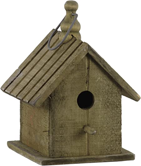 Urban Trends Wood Bird House With Gable Roof Design Metal Handle Natural Finish Brown Amazon Co Uk Kitchen Home