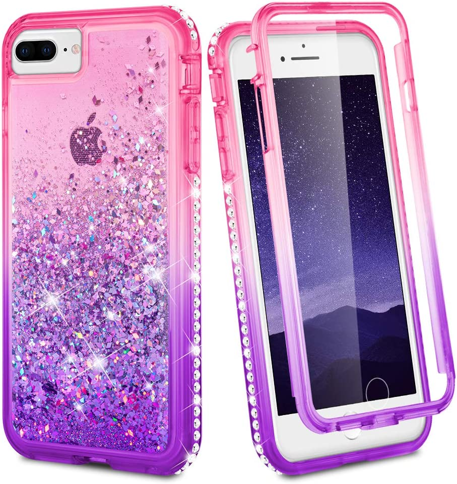 Ruky iPhone 7 Plus Case, iPhone 8 Plus Case, Full Body Clear Glitter Liquid Cover with Built-in Screen Protector Shockproof Protective Women Case for iPhone 6 Plus 6s Plus 7 Plus 8 Plus (Pink Purple)
