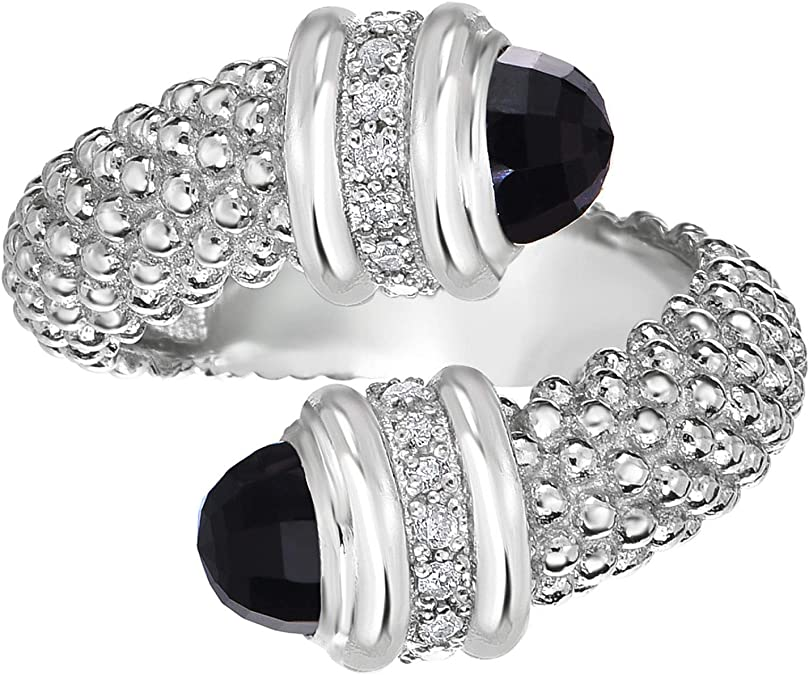 Laboratoire créé diamant noir onyx Original Sterling Argent rhodium