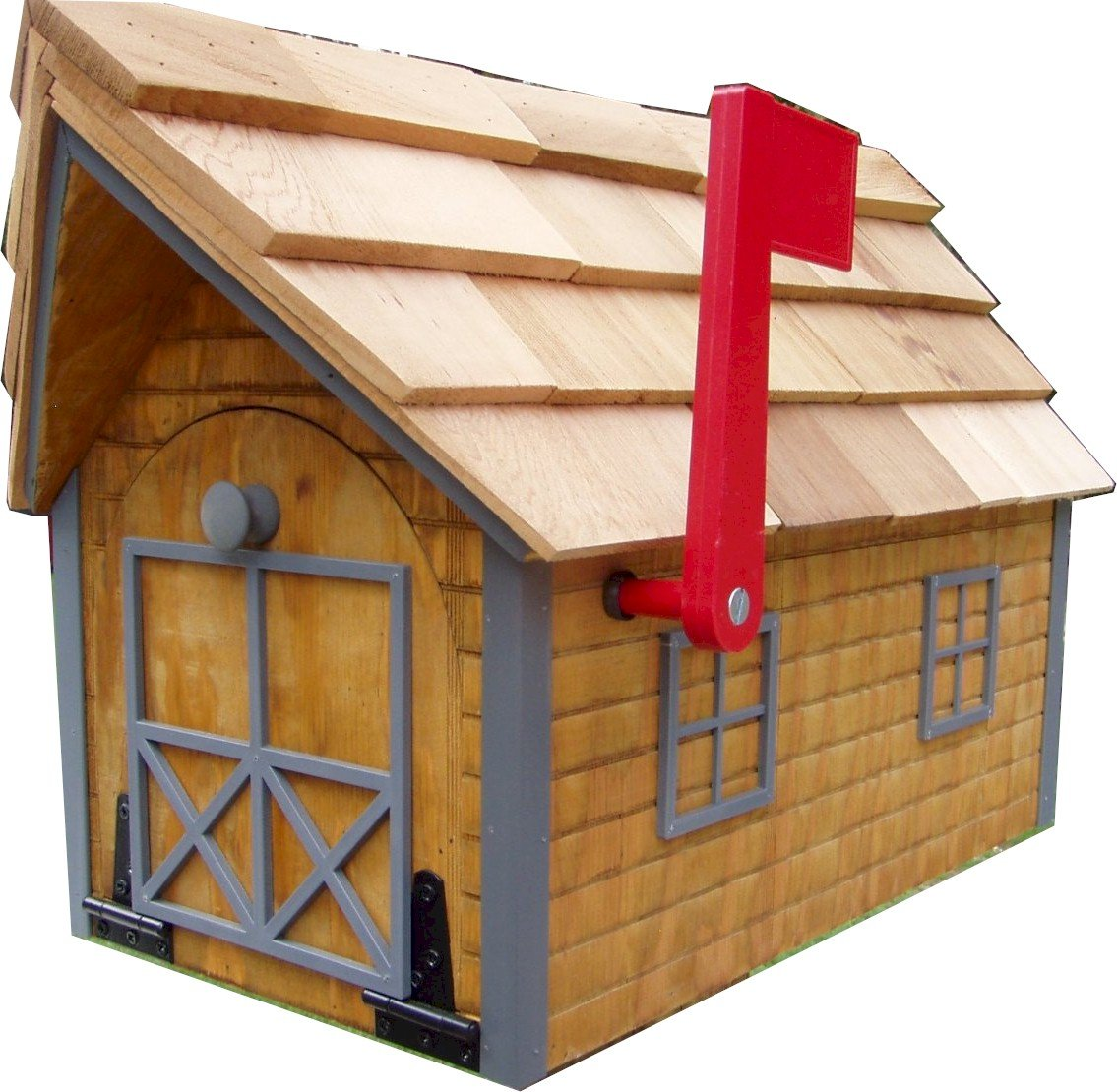 Log Cabin-look Mailbox Cedar Stain Finish with Gray Trim Amish Made in USA