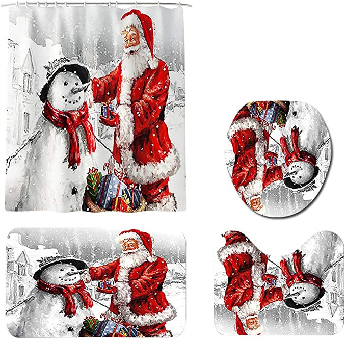 Christmas Print Toilet Bathroom Mat And Shower Curtain Four-Piece Set/_k