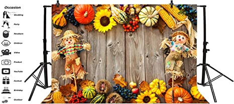 GoEoo 7x5ft Fall Pumpkin Corn Cob Scarecrow on Wood Board Background Rustic Fallen Leaves Photography Backdrop Countryside Autumn Harvest Studio Props Thanksgiving Holiday Party Decor Vinyl Banner