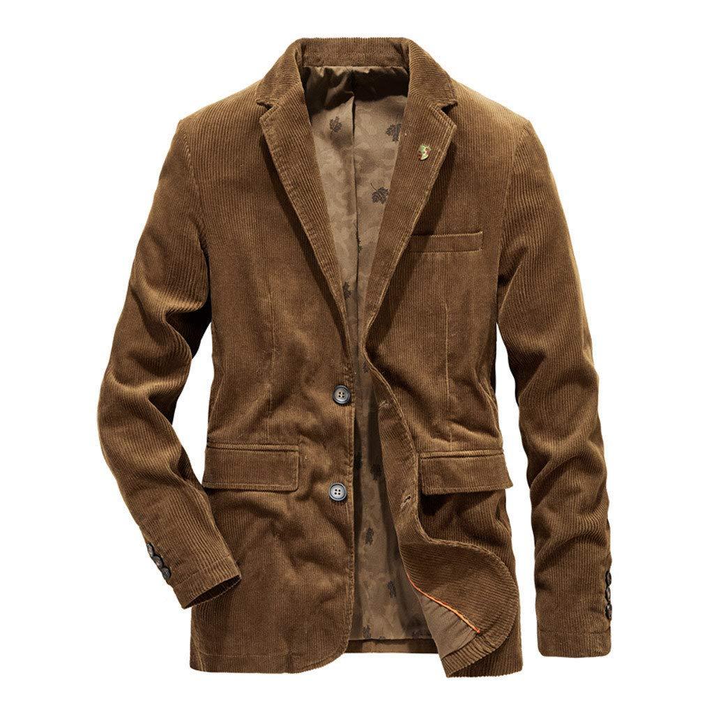 Rmeioel Fashion Middle Aged Men's Suit Autumn Winter Casual Warm Thicken Outwear Jacket Coat Outwear Coffee by Rmeioel
