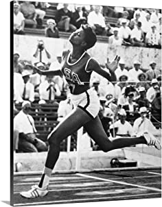 Wilma Rudolph Winning The 100 Meter Dash in The 1960 Summer Olympics in Rome Canvas Wall Art Pr.