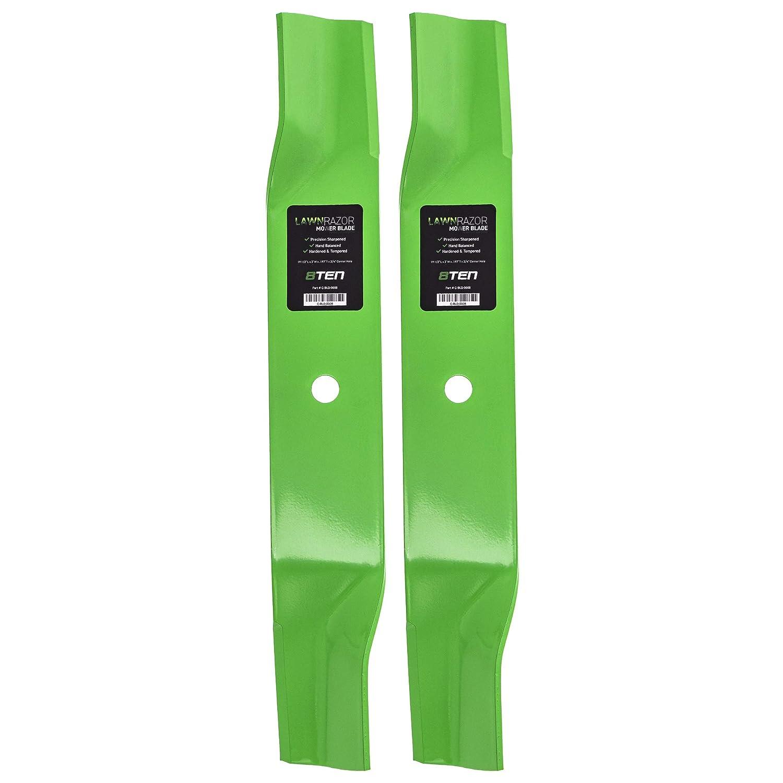 8TEN LawnRAZOR Hi-Lift Blade for John Deere 38 Inch Deck 240 GT242 LT150 AM137324 AM141039 M153118 M84472 2 Pack