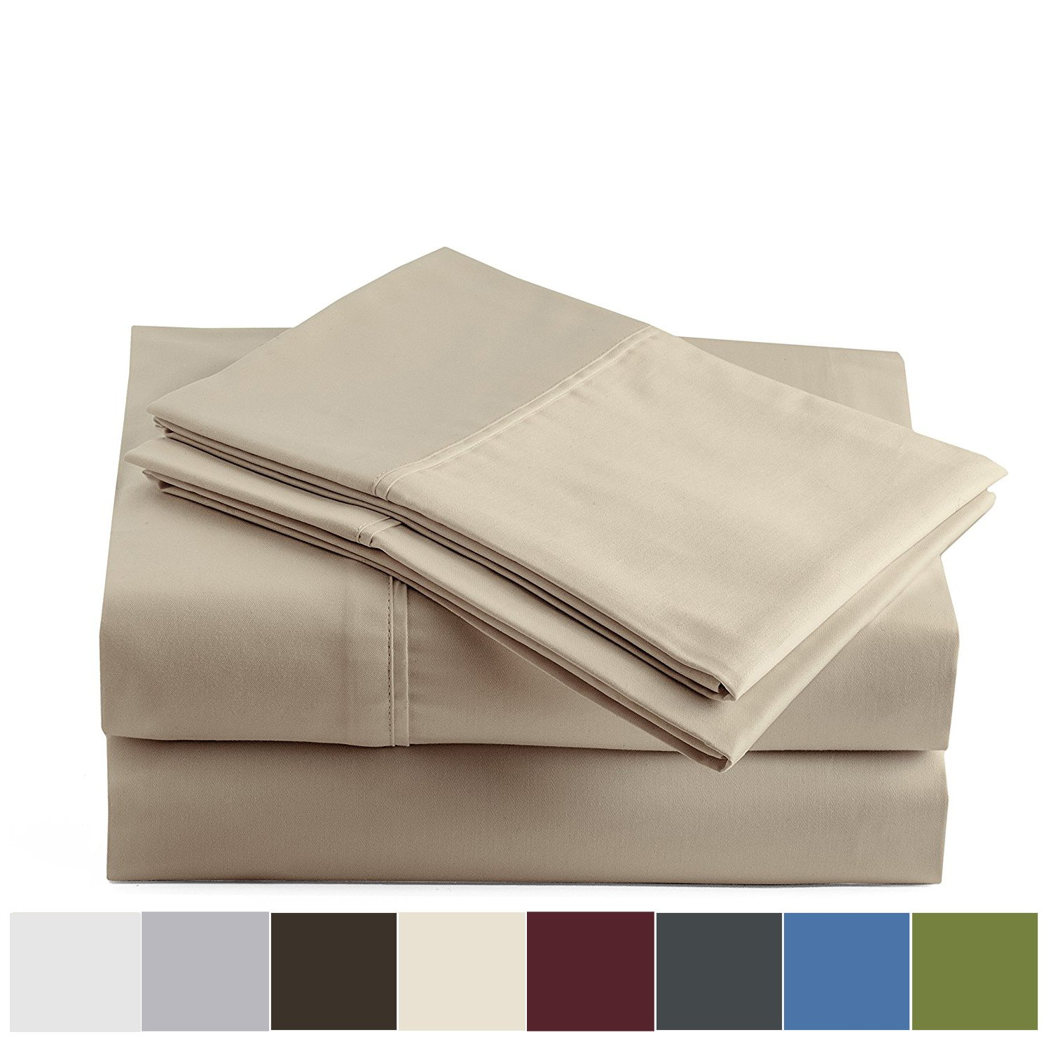 Peru Pima - 600 Thread Count - 100% Peruvian Pima Cotton - Sateen - Bed Sheet Set - Queen, Latte by Peru Pima