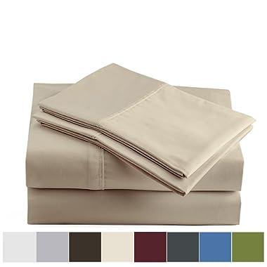 Peru Pima - 600 Thread Count - 100% Peruvian Pima Cotton - Sateen - Bed Sheet Set - King, Latte