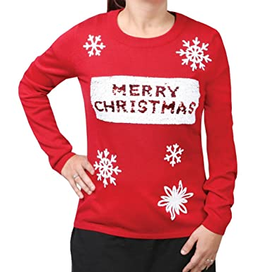 WHAT ON EARTH Women's Sequin-Swipe Red Holiday Sweater - Merry ...