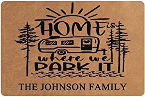 """MyPhotoSwimsuits Personalized Camper Doormat 24"""" X 16"""" Indoor Outdoor with Home is Where We Park It Entrance Door Mat Rug Decor Custom Camping"""