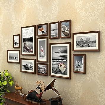 AXZPQ Wandbehang Fotorahmen Sammlung Im Amerikanischen Stil Wohnzimmer  Schlafzimmer Bild Kombination (Farbe : Braun)
