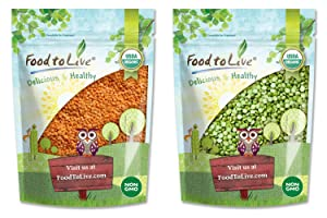 Organic Split Legumes Bundle - Organic Red Split Lentils, 3 Pounds and Organic Green Split Peas, 3 Pounds - Non-GMO, Kosher, Raw, Vegan