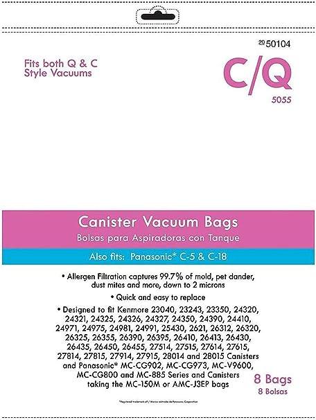 KEMN Micro Filtration Premium Canister Vacuum Bags Fit Kenmore Style C Q 5055 50557 50558 50104, Panasonic C-5 C-18 8Pack