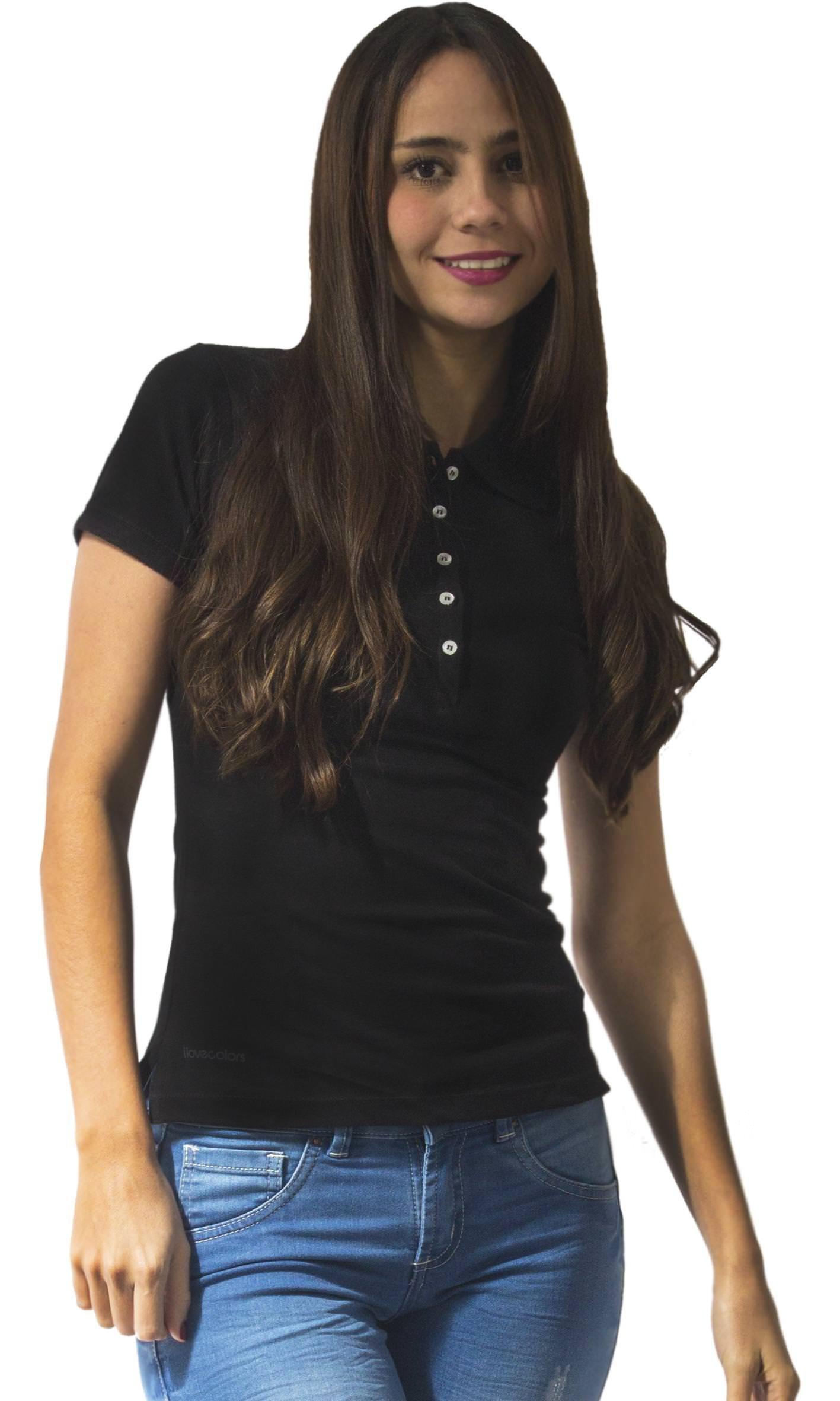 Women's Polo Shirt Short Sleeve Pique B-Basic Dana - Black XL