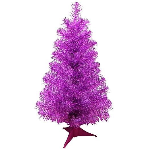 24 mini artificial tinsel desk top christmas tree pink tinsel - Mini Pink Christmas Tree
