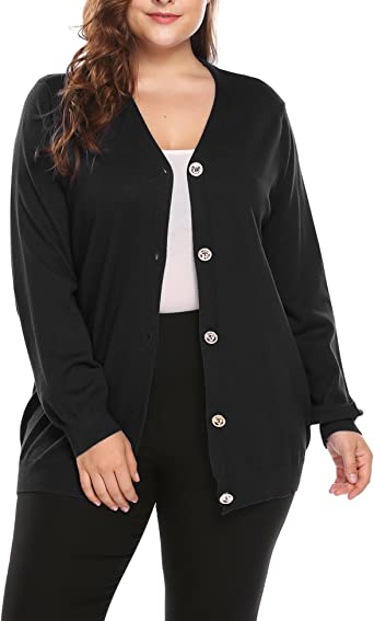 Lady/'s Fashion Navy Faux Leather Look Knitted Jacket Cardigan Buttons Pockets