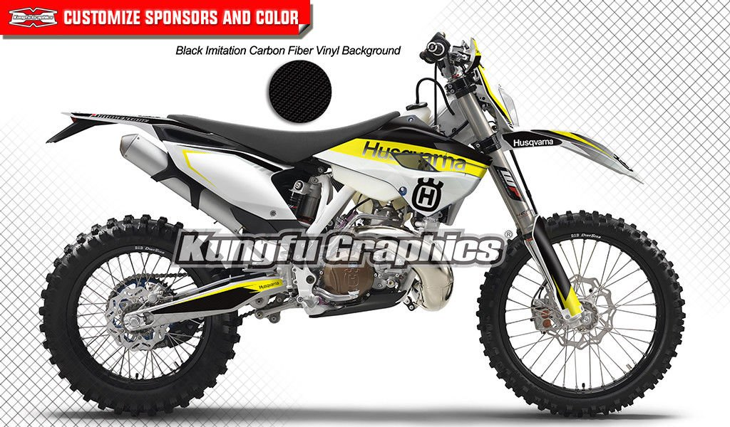 Yellow White Black Style 024 Kungfu Graphics Custom Decal Kit for Husqvarna TE FE 125 250 300 350 450 501 2016