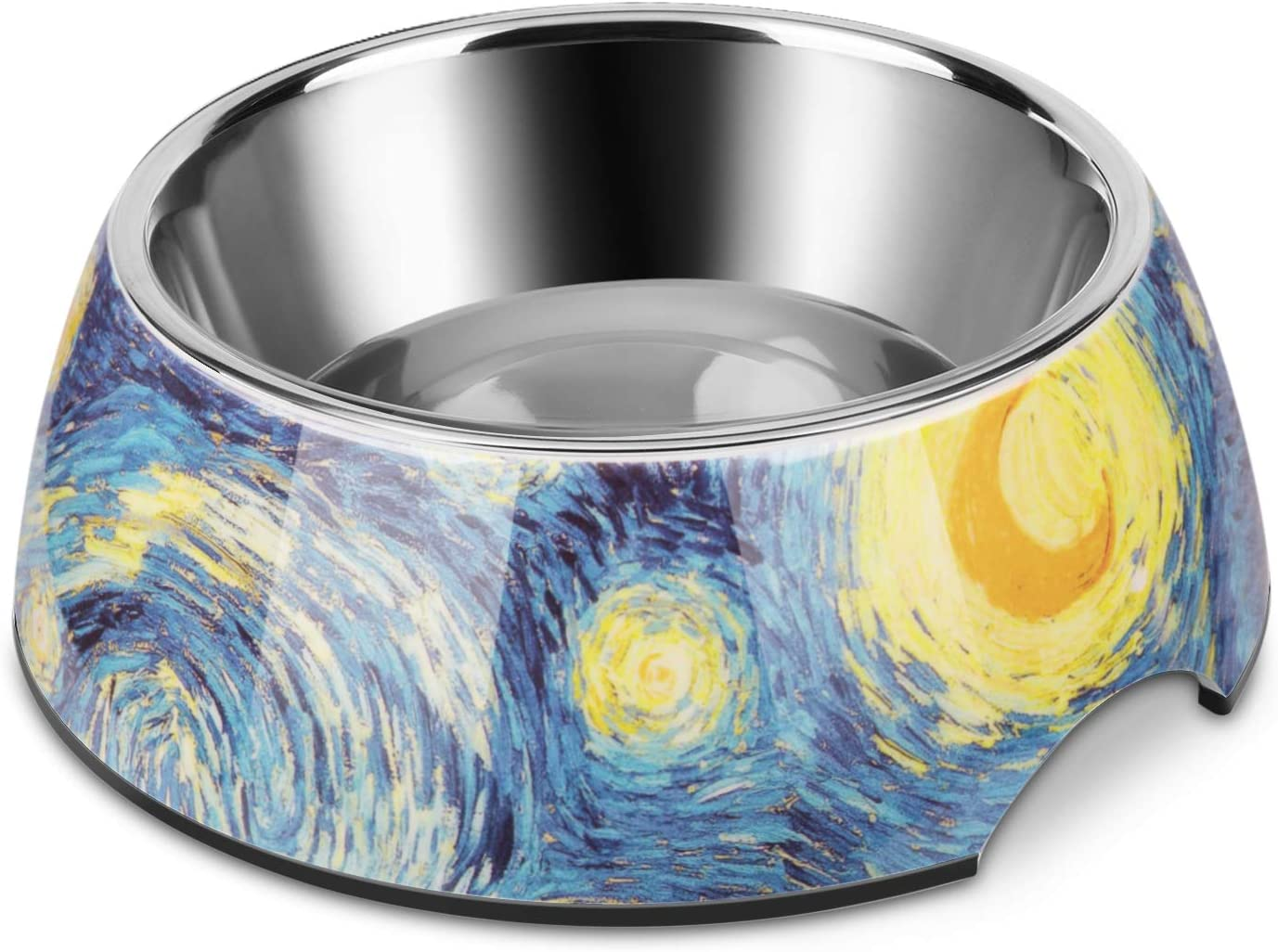 Flexzion Stainless Steel Dog Bowl Cat Dish - Anti-Slip Slip Resistant Rubber Base Pet Feeder, Dishwasher Safe & Rust Resistant with Removable Food Water Holder 24 Fl Oz