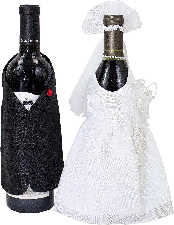 Stylesilove - Juego de 2 fundas para botellas de vino hechas a mano para decoración de boda: Amazon.es: Hogar