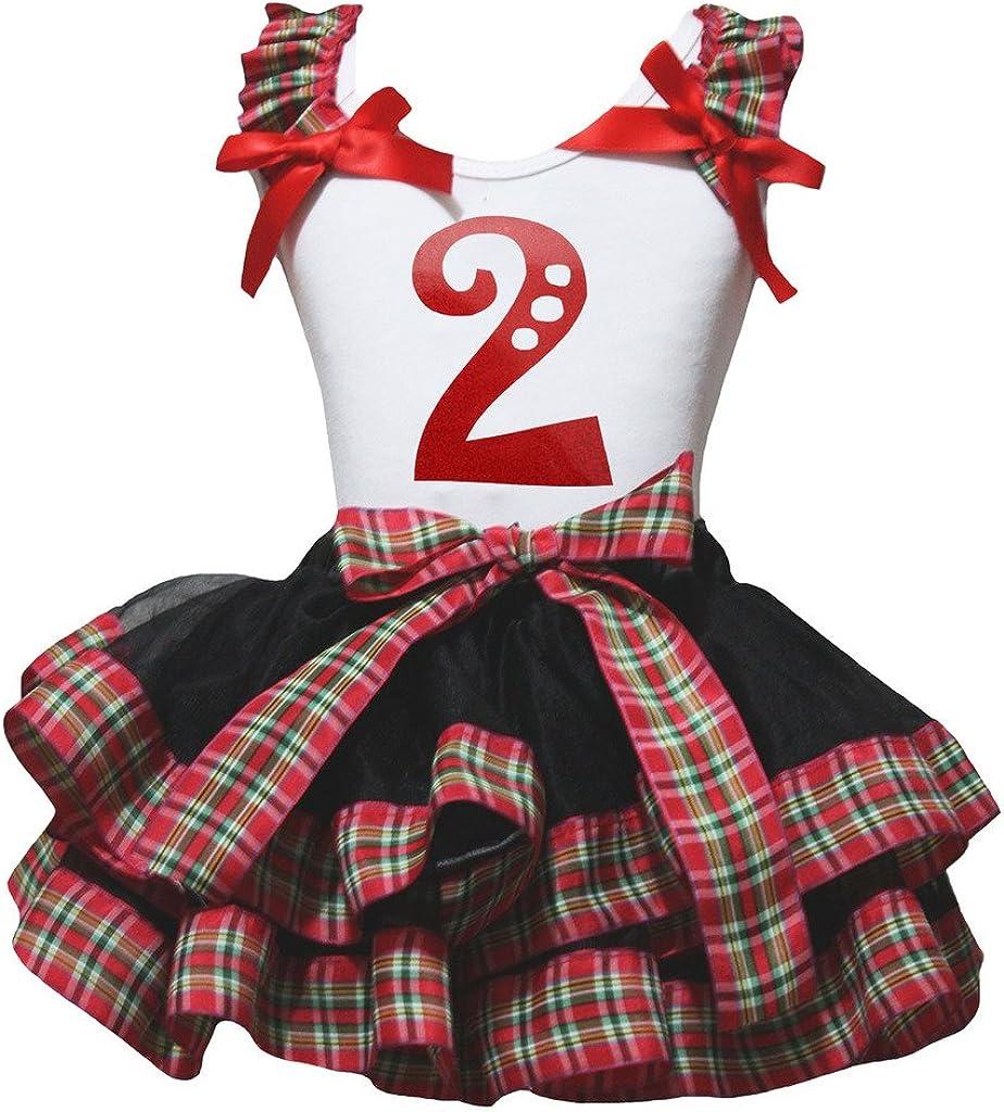 Petitebella Red Two 2 White Shirt Checkered Ribbon Black Petal Skirt Set Nb-8y