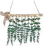 Shiny Flower Eucalyptus Hanging Wall Decor, Artificial Eucalyptus Vines and Greenery Wall Hanging Plants Farmhouse Boho Wall