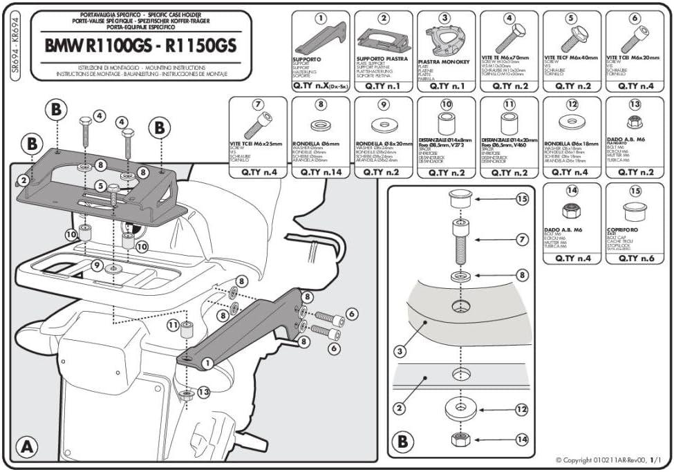 Carga M/áxima 10 Kg Givi SR694 Tirante para Monokey Ba/úl con M5 Placa