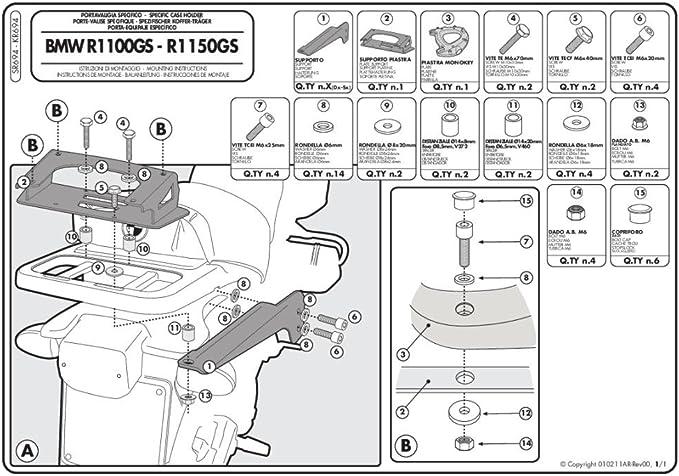 94 03 Givi SR694 Support pour Une Valise Top Case Monokey avec Une Plaque M5 capacit/é Max de Chargement 10 kg BMW R 1100//1150 GS ann/ée de Fabrication