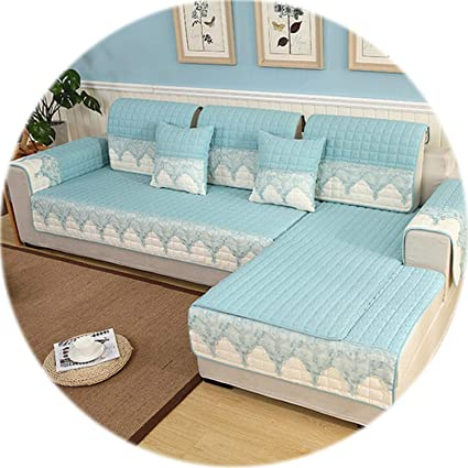 Amazon.com: HANBINGPO lace Spliced Quilted Sofa Cover ...