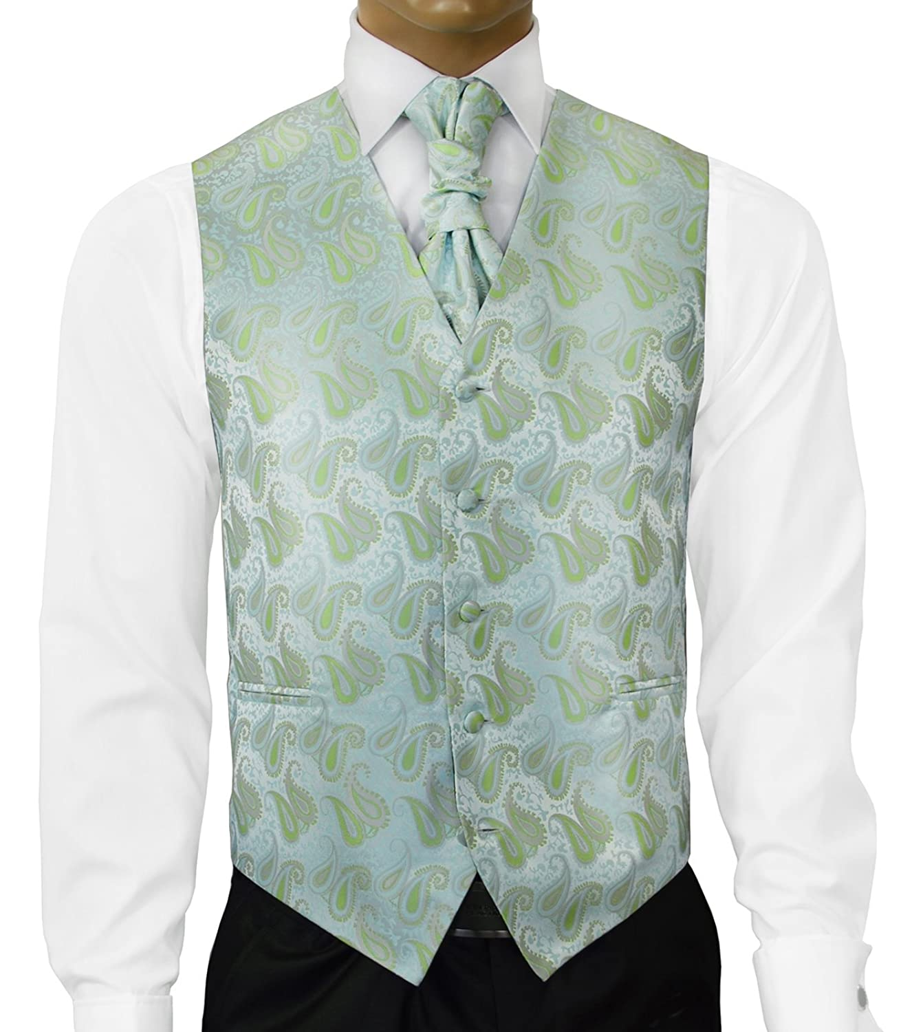 Paul Malone Morning Mist Green Wedding Vest with Tie, Cravat, Pocket ...