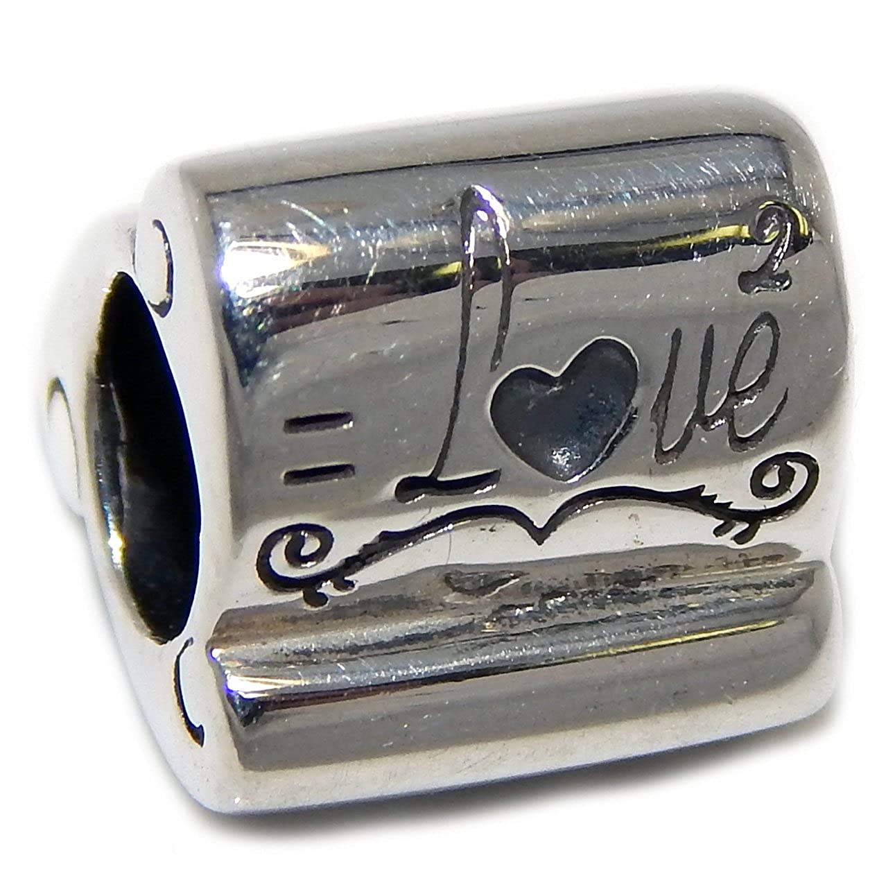 Solid 925 Sterling Silver Three Sided You x Me = Love with Hearts Charm Bead