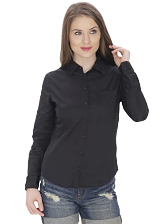 MansicCollections Solid Formal Black Shirt For Women: Amazon.in ...