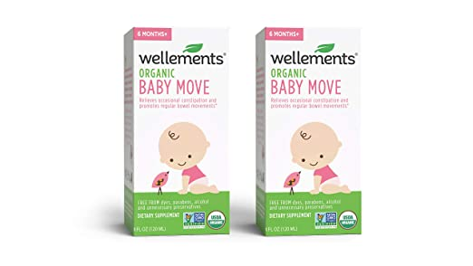 Wellements Organic Baby Move, 4 Fl Oz (Pack of 2), Relieves Occassional Constipation, Free from Dyes, Parabens, Alcohol, Preservatives