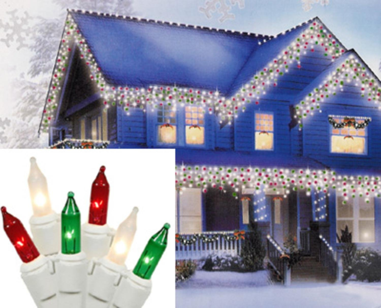 Amazon.com: Set of 100 Red, Green and Clear Frosted Icicle Lights ...