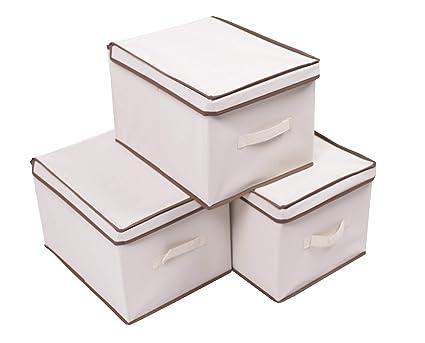 df643d3eab9a Amelitory Cube Storage Bins with Lid Foldable Fabric Storage Box Organizer  Drawer Set of 3 Beige