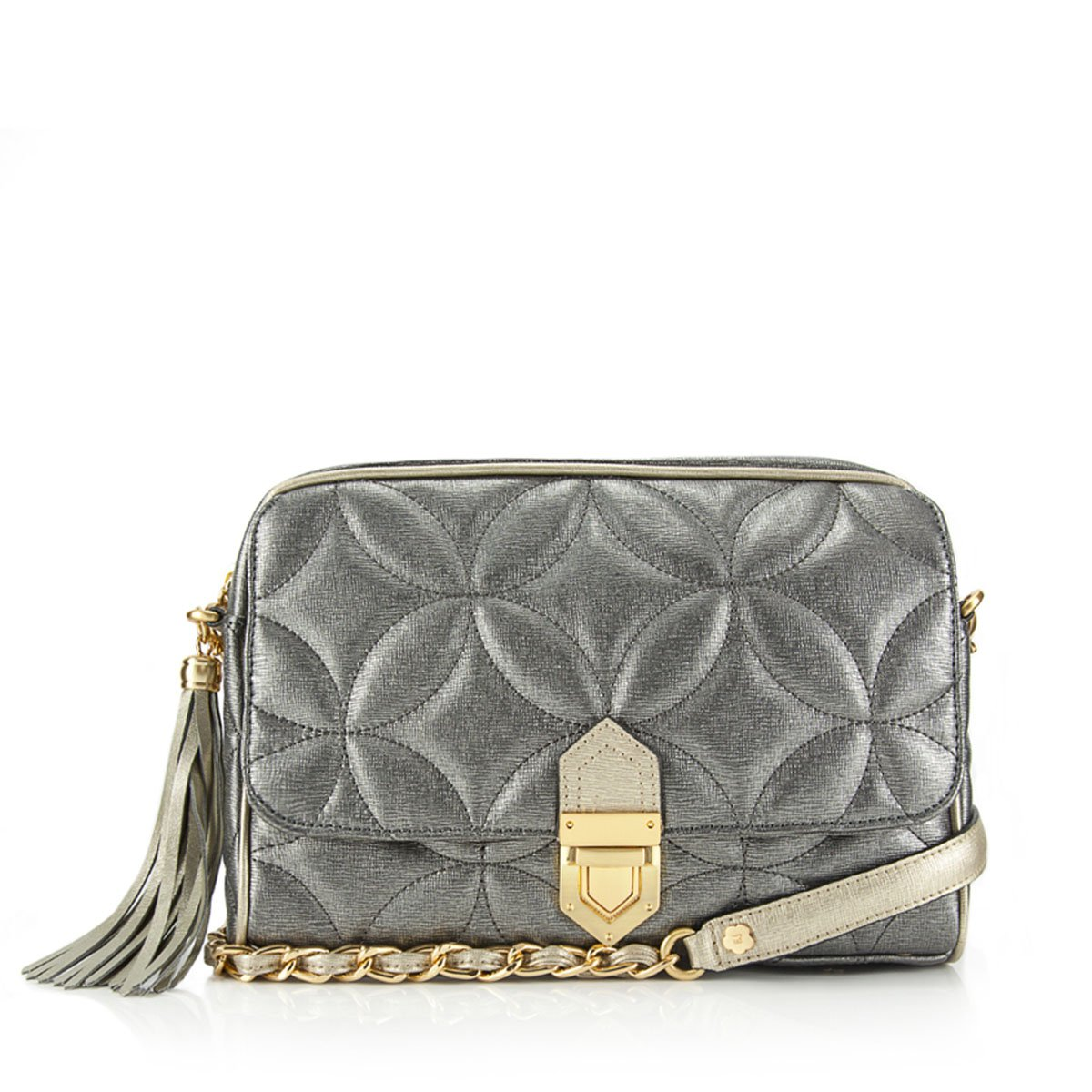 Eric Javits Designer Women's Handbags Dance Zip Pouch - Pewter/Gold