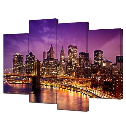 Amazon.com: VVOVV Wall Decor City Skyline Canvas Wall Art New York ...
