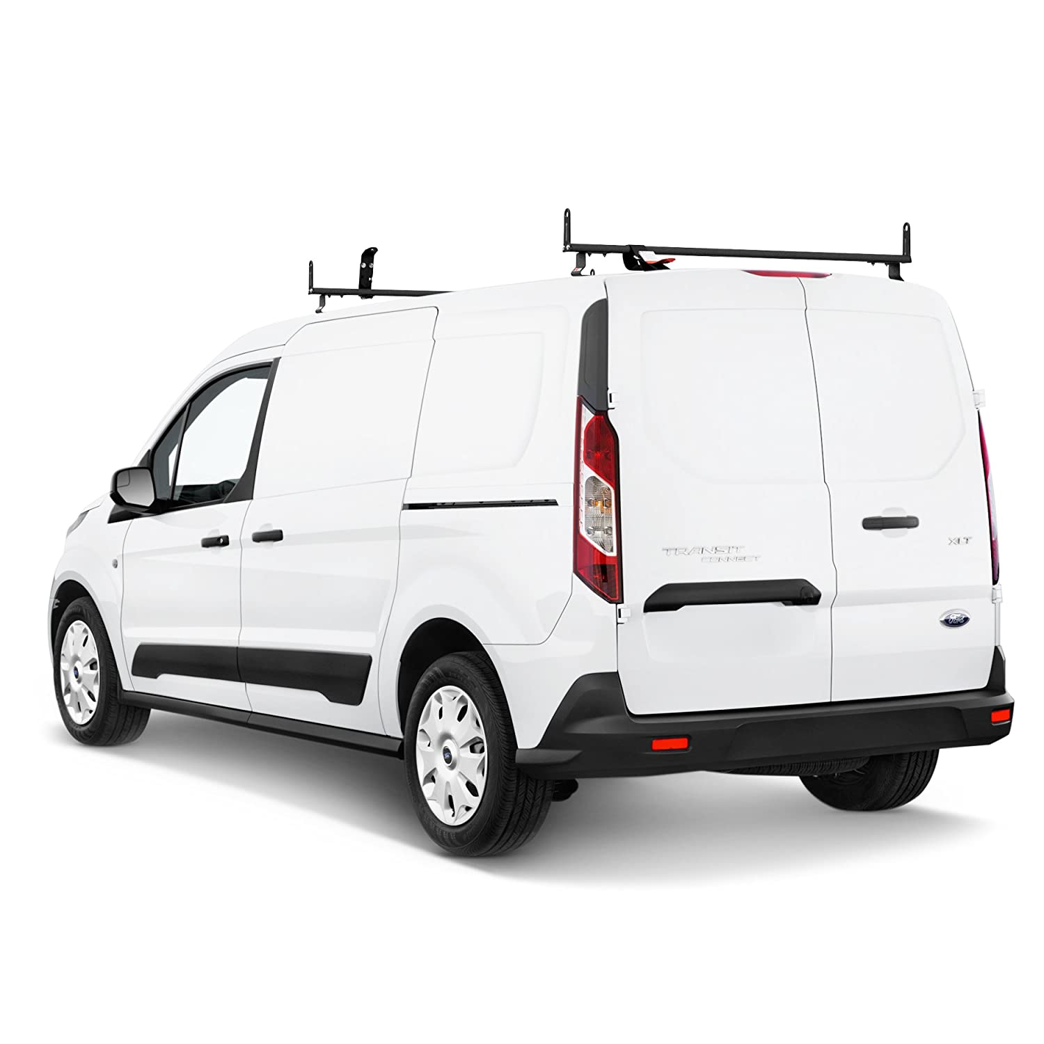 J2000 Aluminum Ladder Roof Rack 2 bar System with Accessories for a 2014-Newer Transit Connect Black