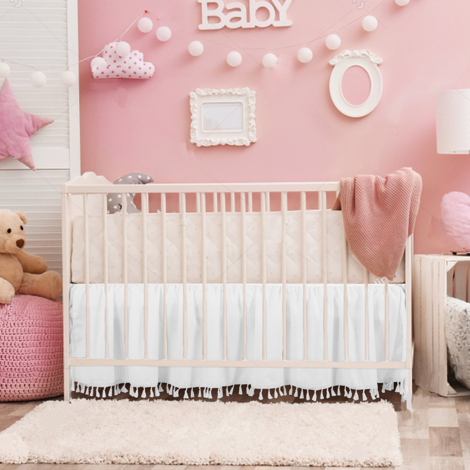 White Crib Bed Skirt Dust Ruffle with Tassel Trim Nursery Crib Bedding Skirt for Baby Boys and Girls,14'Drop by CO-AVE